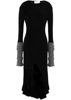 Esteban Cortazar Woman Lamé-trimmed Stretch-knit Mini Dress Black