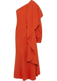 Esteban Cortazar Woman One-shoulder Draped Crepe Midi Dress Bright Orange