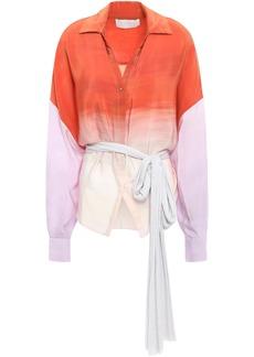 Esteban Cortazar Woman Oversized Degradé Silk Crepe De Chine Shirt Orange