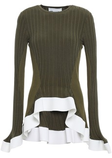 Esteban Cortazar Woman Ribbed-knit Peplum Top Army Green