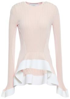 Esteban Cortazar Woman Ribbed-knit Peplum Top Pastel Pink