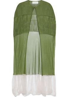 Esteban Cortazar Woman Two-tone Crochet-knit Cape Light Green
