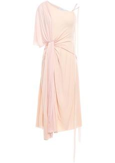 Esteban Cortazar Woman Asymmetric Gathered Two-tone Wool-blend Dress Baby Pink