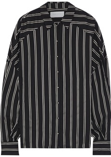 Esteban Cortazar Woman Volume Oversized Striped Satin Shirt Black