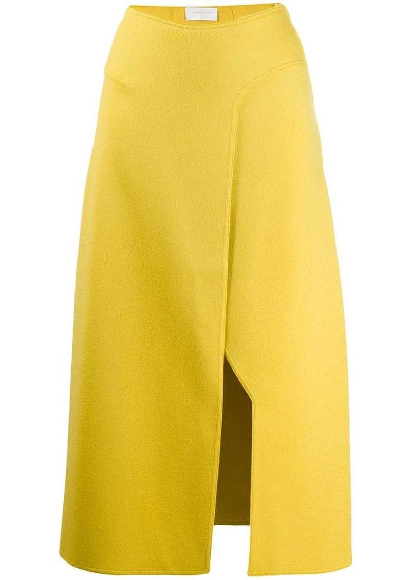 knitted side slit skirt
