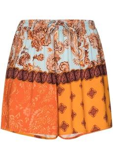 Esteban Cortazar paisley-print patchwork shorts