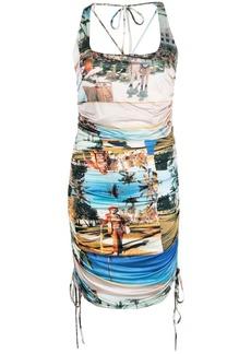 Esteban Cortazar patch-work print fitted dress