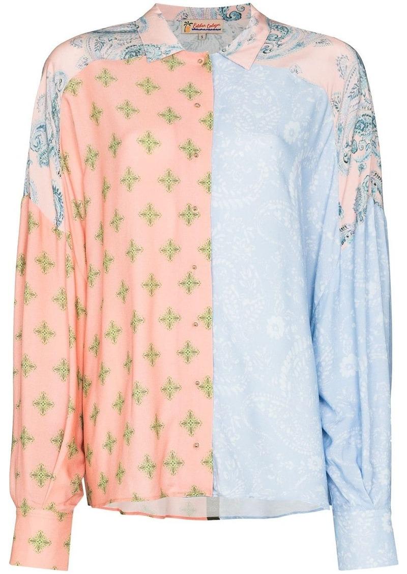 patchwork paisley-print shirt