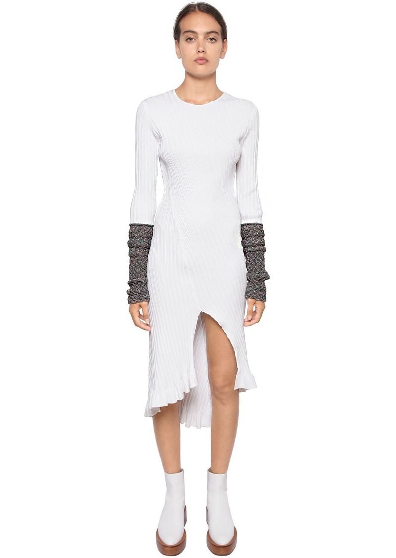 Ribbed Knit Midi Dress W/ Lurex Cuffs