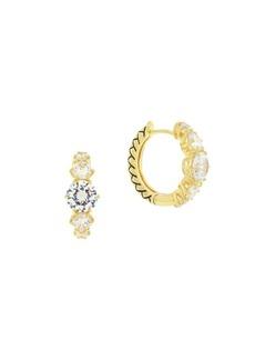 Etienne Aigner Goldtone and Cubic Zirconia Huggy Hoop Earrings