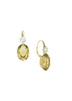 Etienne Aigner Goldtone and Glass Quartz Drop Earrings