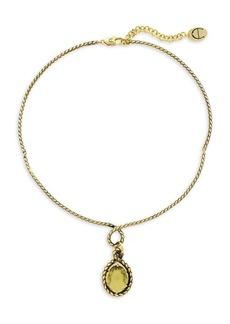 Etienne Aigner Goldtone and Glass Quartz Pendant Wire Necklace