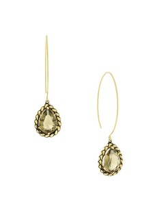 Etienne Aigner Goldtone and Glass Quartz Thread Drop Earrings