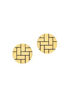 Etienne Aigner Goldtone Button Earrings