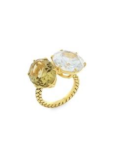 Etienne Aigner Goldtone and Glass Quartz Cubic Zirconia Ring
