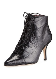 Etienne Aigner Lana Croc-Embossed Waxy Leather Lace-Up Bootie