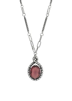 Etienne Aigner Long Rhodium-Plated Textured Oval Pendant Necklace