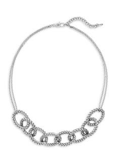 Etienne Aigner Rhodium-Plated Textured Link Collar Necklace