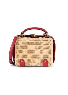 Etienne Aigner Small Charlotte Leather-Trimmed Wicker Crossbody Box Bag
