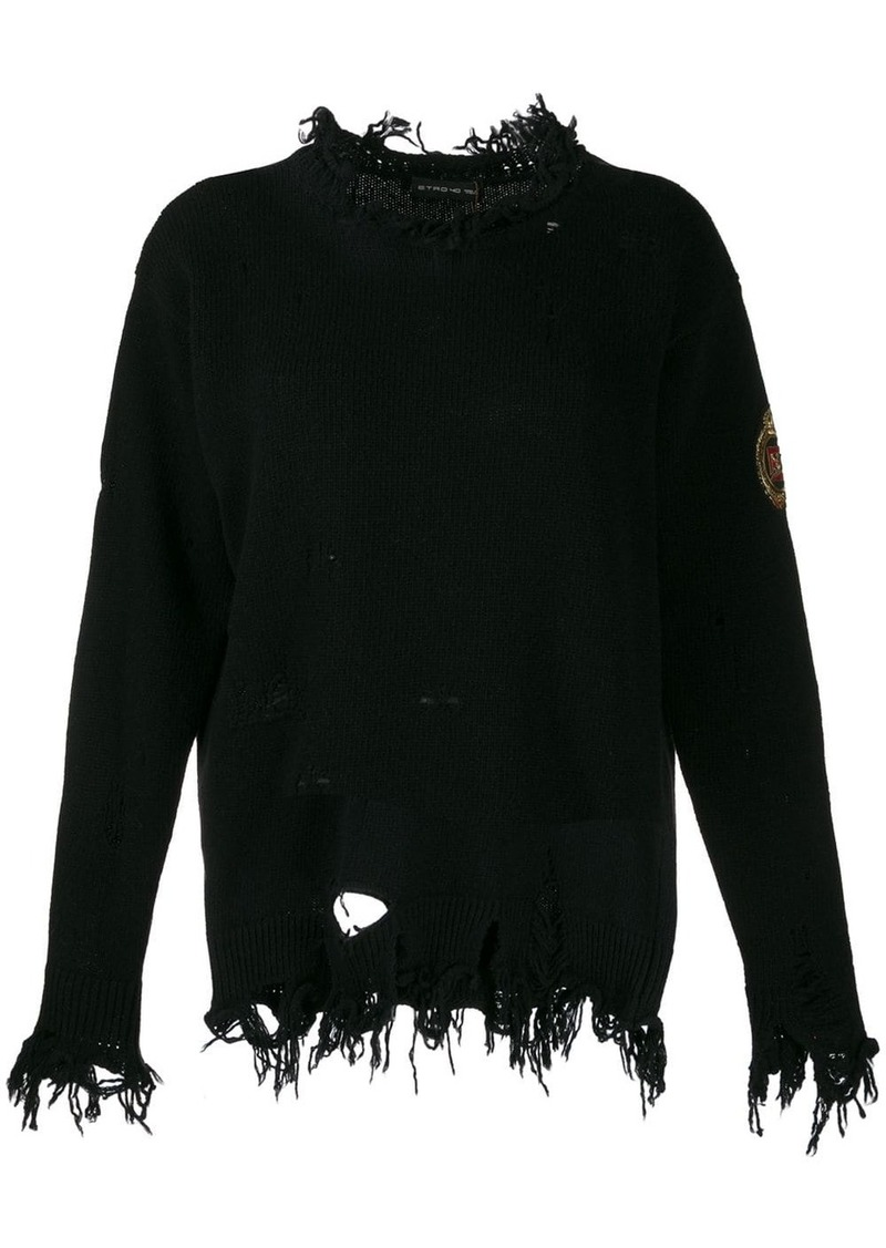 Etro distressed logo patch jumper