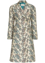 Etro jacquard print single breasted coat
