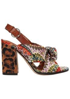 Etro 95mm Paisley Satin & Raffia Heel Sandals