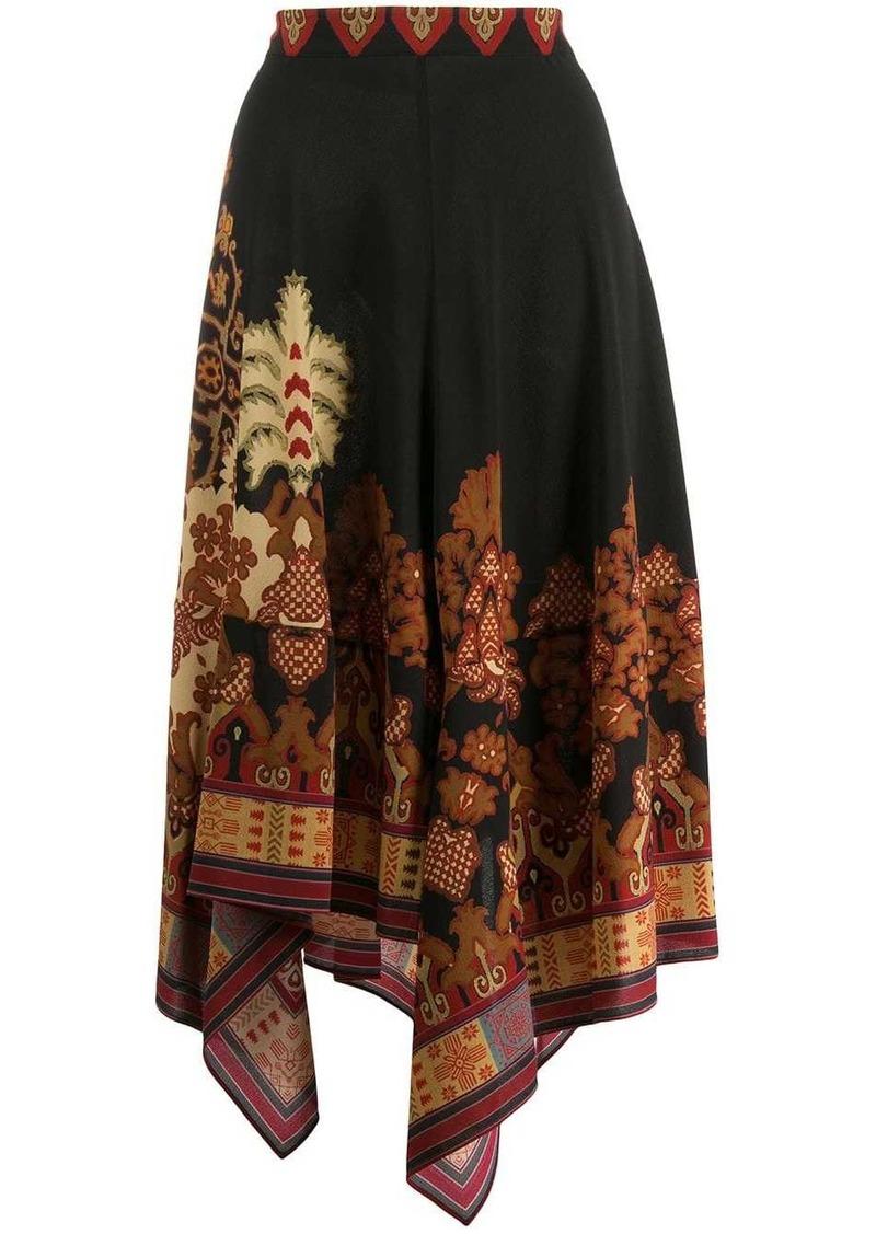 Etro asymmetric print skirt