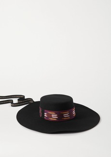 Etro Cappello Gaucho Embroidered Grosgrain-trimmed Wool-felt Hat