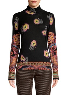 Etro Cashmere & Silk Knit Floral Turtleneck