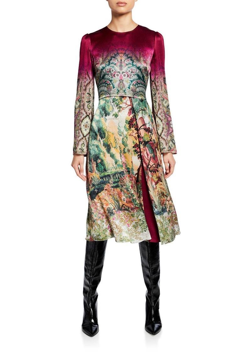 Etro Castle-Print Hammered Satin Dress
