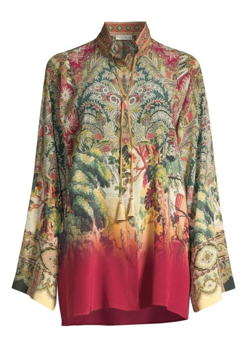Etro Castle Print Long Tunic Blouse