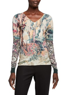 Etro Castle-Print Silk/Cashmere V-Neck Sweater