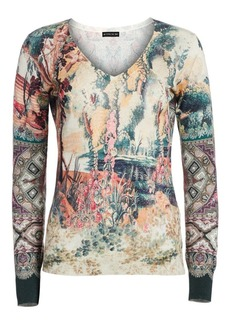 Etro Castle Silk & Cashmere V-Neck Sweater
