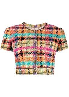 Etro check-pattern cropped jacket