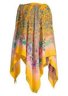 Etro Cold-Shoulder Floral Paisley Poncho