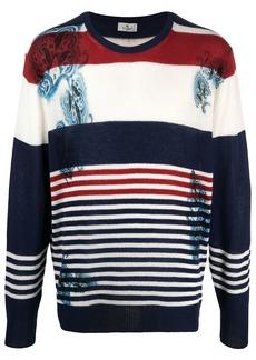 Etro colour-block stripe-print wool jumper