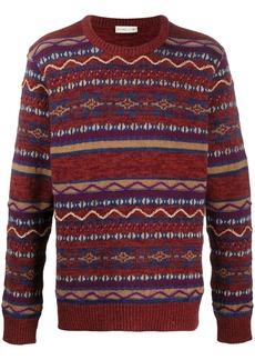 Etro contrast pattern intarsia knit jumper