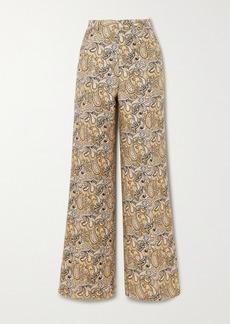 Etro Cotton And Silk-blend Jacquard Straight-leg Pants