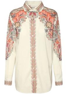 Etro Cotton Poplin Shirt W/printed Shoulders