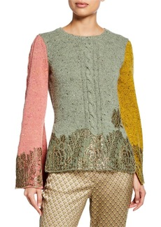 Etro Crewneck Stamped Colorblock Bell-Sleeve Sweater