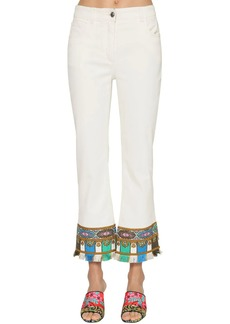 Etro Crop Flared Stretch Cotton Denim Jeans