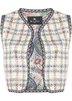 Etro cropped check knit gilet