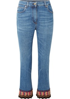 Etro Cropped embroidered high-rise flared jeans