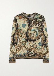 Etro Cropped Paisley-print Stretch-jersey Top