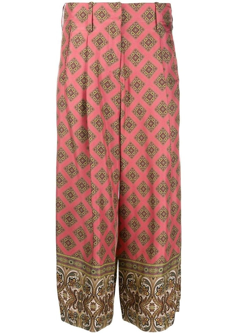 Etro cropped printed trousers