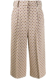 cropped retro print trousers