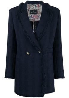 Etro double-breasted frayed coat
