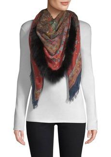 Etro Dream Catcher-Print Fur-Trim Cashmere & Silk Scarf
