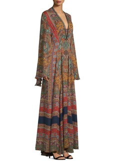 Etro Dream Catcher Silk Kimono Gown