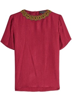 Etro Embroidered and Embellished Top with Silk